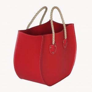 LIRA: portariviste in cuoio colore Rosso, porta giornali, quotidiani, cesto, per Casa, Ufficio, Made in Italy, Limac Design®.