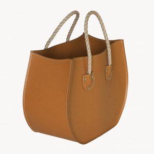 LIRA: portariviste in cuoio colore Marrone, porta giornali, quotidiani, cesto, per Casa, Ufficio, Made in Italy, Limac Design®.