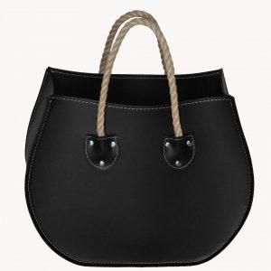 LIRA: portariviste in cuoio colore Nero, porta giornali, quotidiani, cesto, per Casa, Ufficio, Made in Italy, Limac Design®.