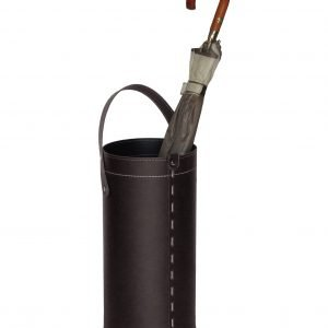 REGEN: Schirmständer aus regenerated leder farbe Dunkelbraun, Regenschirmständer mit Wasserauffangschale, Made in Italy by Limac Design®.
