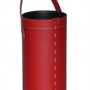 REGEN: porta-ombrelli in cuoio colore rosso, portaombrelli di design con raccogligocce, porta ombrelli per Casa, Ufficio, Hotel, Limac Design®.