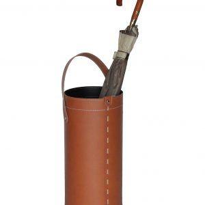 REGEN: porta-ombrelli in cuoio colore marrone, portaombrelli di design con raccogligocce, porta ombrelli per Casa, Ufficio, Hotel, Limac Design®.