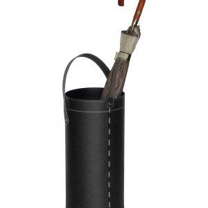 REGEN: porta-ombrelli in cuoio colore nero, portaombrelli di design con raccogligocce, porta ombrelli per Casa, Ufficio, Hotel, Limac Design®.
