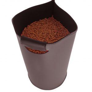 SAPEL: borsa porta pellet in cuoio colore Testa di Moro, contenitore per stufa, borsa portapellet, per la casa, Ufficio, Hotel, design Firestyle®, Made in Italy.