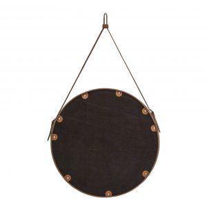 CORIUM 70: Specchio tondo da parete, cornice bordo e cintura totalmente in cuoio colore Antracite, specchio di bellezza, disegnato da Limac Design®, 100% Made in Italy.
