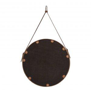 CORIUM 70: Specchio tondo da parete, cornice bordo e cintura totalmente in cuoio colore Tortora, specchio di bellezza, disegnato da Limac Design®, 100% Made in Italy.