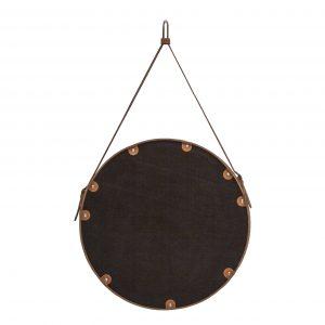 EFFIGIES 60: Specchio tondo da parete, cornice bordo e cintura totalmente in cuoio colore Rosso, specchio di bellezza, disegnato da Limac Design®, 100% Made in Italy.