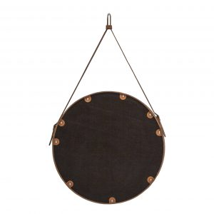 EFFIGIES 70: Specchio tondo da parete, cornice bordo e cintura totalmente in cuoio colore Rosso, specchio di bellezza, disegnato da Limac Design®, 100% Made in Italy.