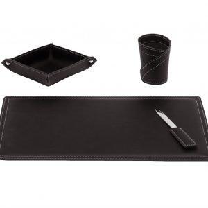 ASCANIO 4: Set di accessori da scrivania in cuoio colore Testa di Moro, set ufficio, sottomano da scrivania, portaoggetti, portapenne, antiscivolo, Made in Italy by Limac Design®.