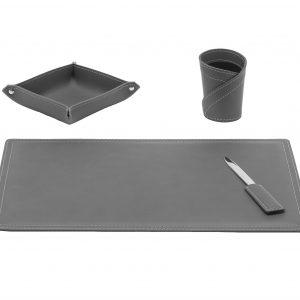 ASCANIO 4: Set di accessori da scrivania in cuoio colore Antracite, set ufficio, sottomano da scrivania, portaoggetti, portapenne, antiscivolo, Made in Italy by Limac Design®.