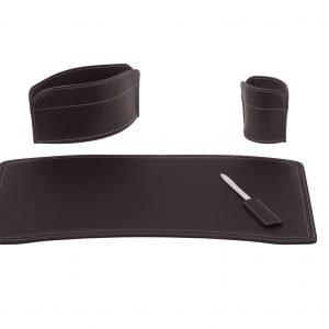 BRANDO 4: Set di accessori da scrivania in cuoio colore Testa di Moro, set ufficio, sottomano da scrivania, portaoggetti, portapenne, antiscivolo, Made in Italy by Limac Design®.