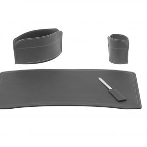 BRANDO 4: Set di accessori da scrivania in cuoio colore Antracite, set ufficio, sottomano da scrivania, portaoggetti, portapenne, antiscivolo, Made in Italy by Limac Design®.