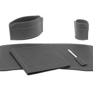 BRANDO 5: Set di accessori da scrivania in cuoio colore Antracite, set ufficio, sottomano da scrivania, portaoggetti, portapenne, antiscivolo, Made in Italy by Limac Design®.