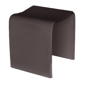 SGABY: stool covered in leather Dark Brown color, bathroom stool, foot stool, chair stool.