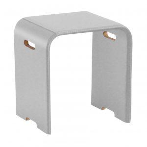 SGABY: sgabello in cuoio colore Bianco, sedile, sedia, sgabello da bagno, sgabello da camera, Made in Italy, Limac Design®.