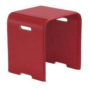 SGABY: sgabello in cuoio colore Rosso, sedile, sedia, sgabello da bagno, sgabello da camera, Made in Italy, Limac Design®.