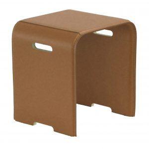 SGABY: sgabello in cuoio colore Marrone, sedile, sedia, sgabello da bagno, sgabello da camera, Made in Italy, Limac Design®.