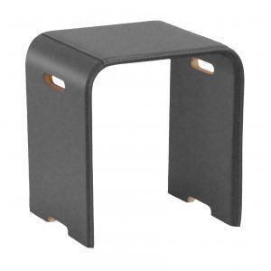 SGABY: sgabello in cuoio colore Grigio Antracite, sedile, sedia, sgabello da bagno, sgabello da camera, Made in Italy, Limac Design®.