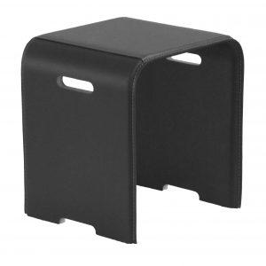 SGABY: sgabello in cuoio colore Nero, sedile, sedia, sgabello da bagno, sgabello da camera, Made in Italy, Limac Design®.