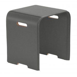 SGABY: sgabello in cuoio colore Tortora, sedile, sedia, sgabello da bagno, sgabello da camera, Made in Italy, Limac Design®.