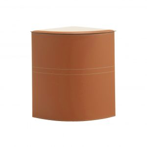"""SIMON: Portabiancheria in cuoio colore Marrone, cesta porta biancheria con sacco in cotone removibile e coperchio in cuoio, """"Salvaspazio"""" ad angolo, disegnato da Limac Design®."""