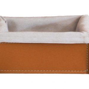 SONIA: Set contenitori Rettangolare in cuoio colore Marrone con fodera in cotone, portaoggetti, cestino, scatola in cuoio, per il Bagno, la Cucina, l'Ufficio, Limac Design®