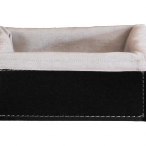 SONIA: Set contenitori Rettangolare in cuoio colore tortora con Nero in cotone, portaoggetti, cestino, scatola in cuoio, per il Bagno, la Cucina, l'Ufficio, Limac Design®
