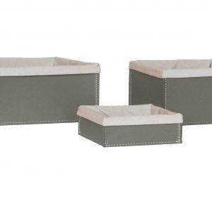 SONIA: Set contenitori Rettangolare in cuoio colore tortora con fodera in cotone, portaoggetti, cestino, scatola in cuoio, per il Bagno, la Cucina, l'Ufficio, Limac Design®