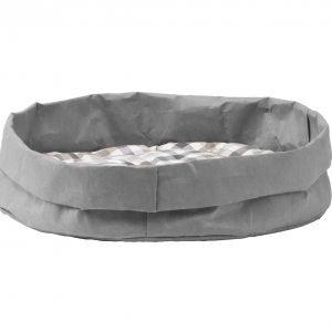 TOMMY: cuccia per cani e gatti in fibra di cellulosa colore Grigio, con cuscino anallergico removibile in cotone a quadretti, Made in Italy, Limac Design®.
