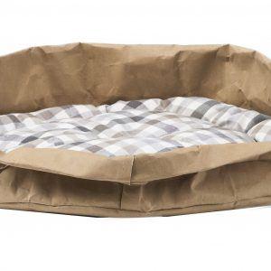 TOMMY: cuccia per cani e gatti in fibra di cellulosa colore Avana, con cuscino anallergico removibile in cotone a quadretti, Made in Italy, Limac Design®.
