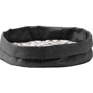 TOMMY: cuccia per cani e gatti in fibra di cellulosa colore Nero, con cuscino anallergico removibile in cotone a quadretti, Made in Italy, Limac Design®.