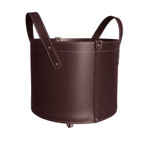 TONDA MINI: portalegna in cuoio colore Testa di Moro, contenitore per camino, borsa porta legna, per la casa, Ufficio, Hotel, design Firestyle®, Made in Italy.