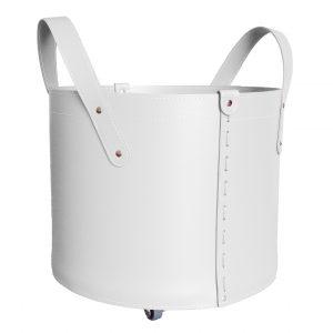 TONDA MINI: portalegna in cuoio colore Bianco, contenitore per camino, borsa porta legna, per la casa, Ufficio, Hotel, design Firestyle®, Made in Italy.