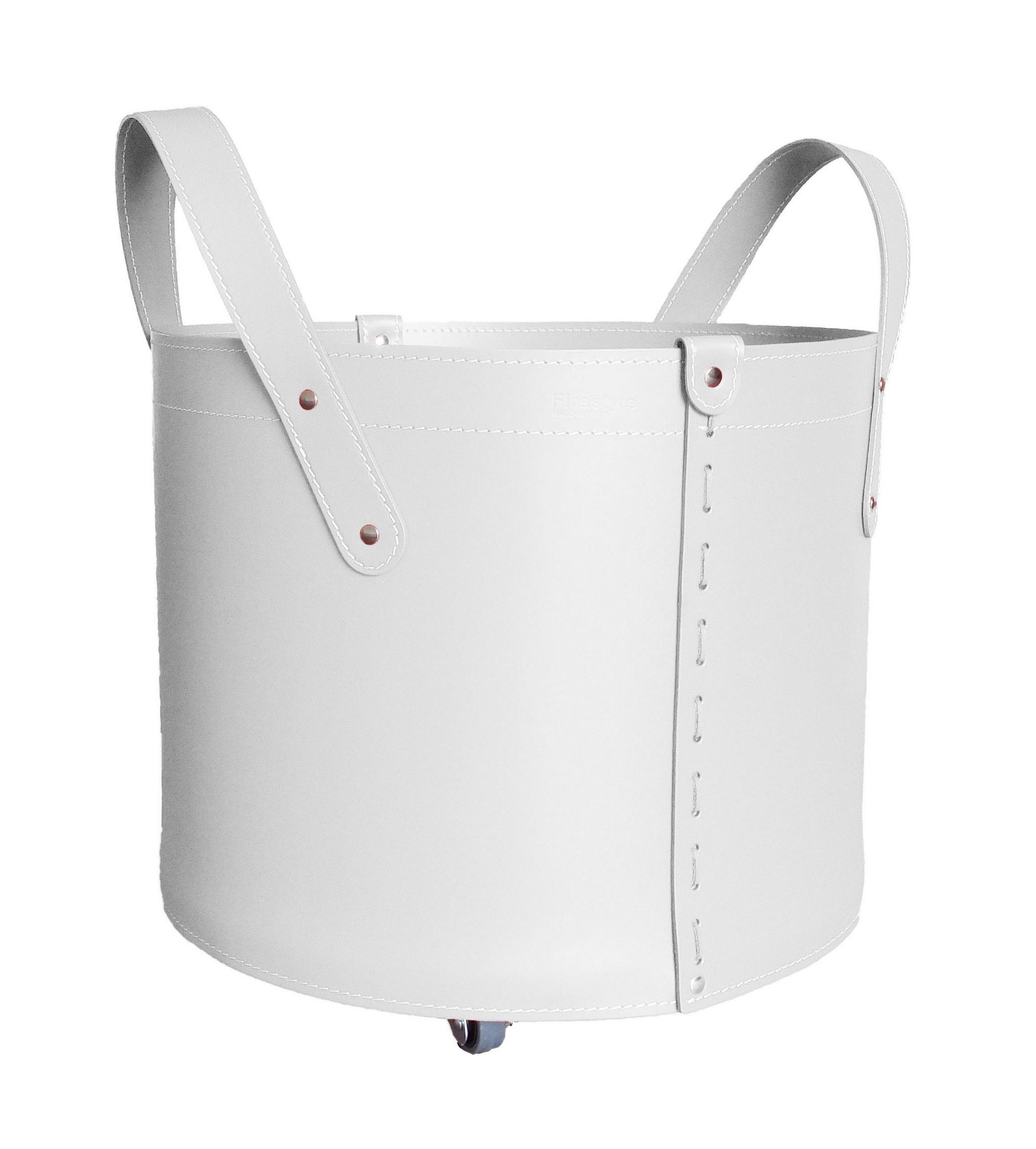 Camino Per La Casa tonda mini: portalegna in cuoio colore bianco, contenitore