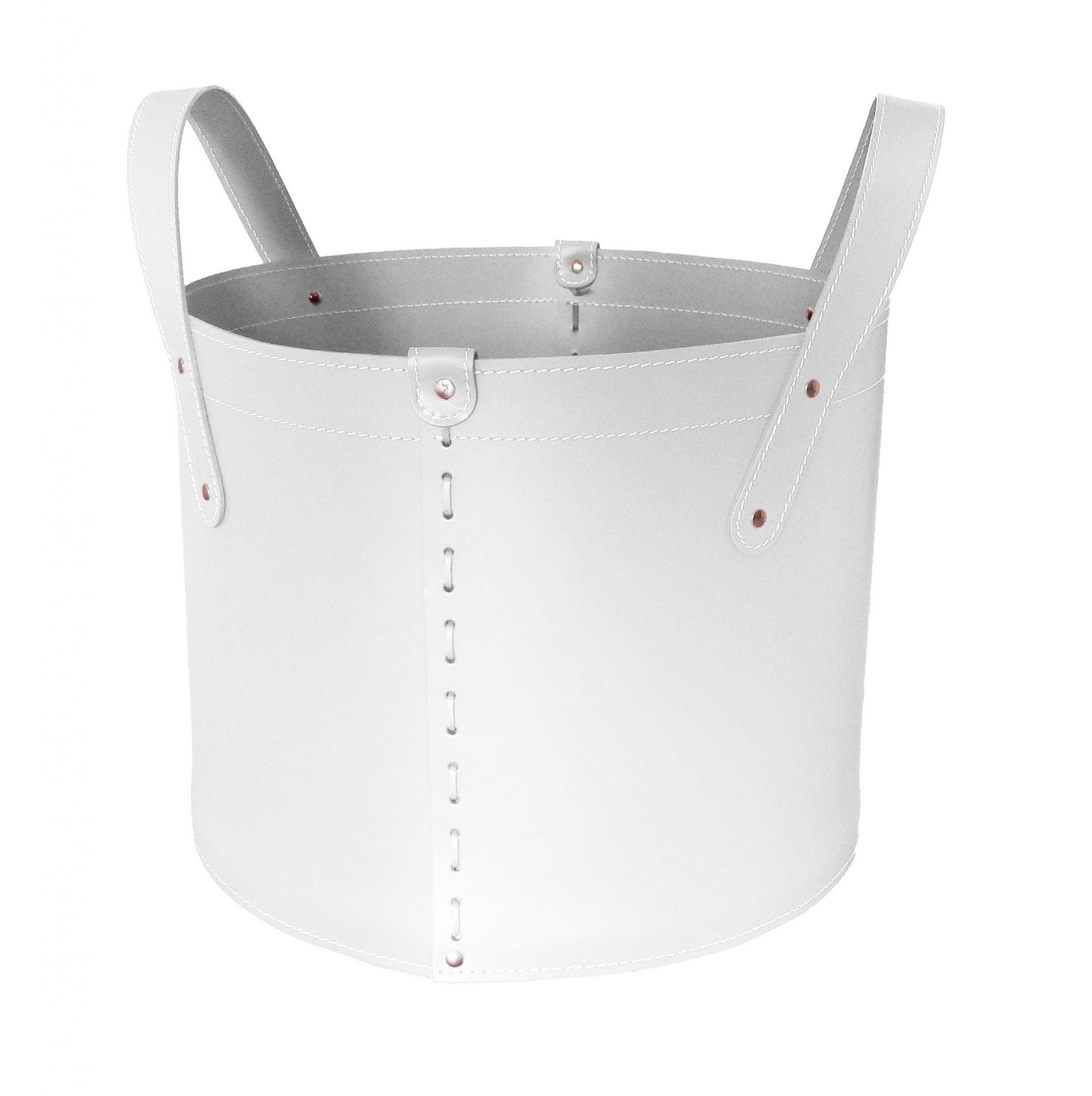 TONDA: portalegna in cuoio colore Bianco, contenitore per camino, borsa porta legna, per la casa, Ufficio, Hotel, design Firestyle®, Made in Italy.