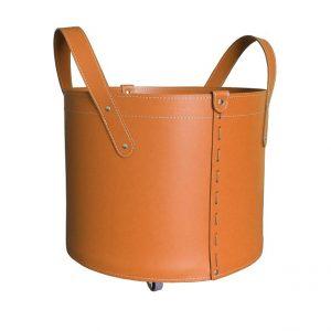 TONDA MINI: portalegna in cuoio colore Marrone, contenitore per camino, borsa porta legna, per la casa, Ufficio, Hotel, design Firestyle®, Made in Italy.