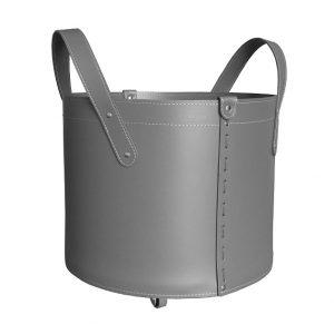 TOCAD: set da camino in cuoio colore Antracite composto da portalegna, borsa porta-ferri e attrezzi da camino, idea regalo, cesta per legna, Made in Italy, design Firestyle®.