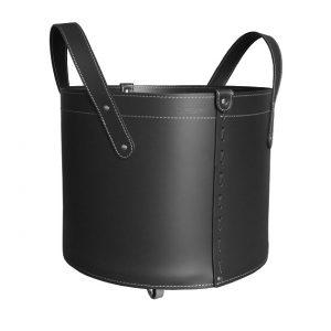 TONDA MINI: portalegna in cuoio colore Nero, contenitore per camino, borsa porta legna, per la casa, Ufficio, Hotel, design Firestyle®, Made in Italy.