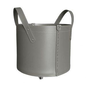TONDA: portalegna in cuoio colore Tortora, contenitore per camino, borsa porta legna, per la casa, Ufficio, Hotel, design Firestyle®, Made in Italy.