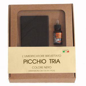 """PICCHIO """"TRIA"""": umidificatore in acciaio inox verniciato colore Nero, con essenza profumata, evaporatore universale per stufe e caminetti, con calamita, disegnato da Firestyle®"""