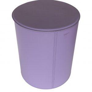 TUTUN: portalegna in cuoio con struttura in acciaio, cuoio colore Viola Ciclamino, con ruote gommate.