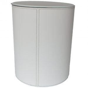 TUTUN: portalegna in cuoio con struttura in acciaio, cuoio colore Bianco, con ruote gommate.