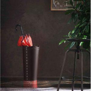 UMBRELLA: porta-ombrelli in cuoio Testa di Moro, portaombrelli di design con vaschetta raccogligocce, portaombrello made in Italy by Limac Design®.