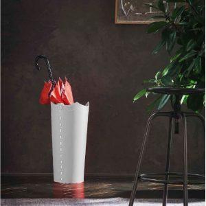UMBRELLA: porta-ombrelli in cuoio Bianco, portaombrelli di design con vaschetta raccogligocce, portaombrello made in Italy by Limac Design®.