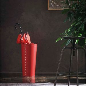 UMBRELLA: Schirmständer aus regenerated leder farbe Rot, Regenschirmständer mit Wasserauffangschale, Made in Italy by Limac Design®.