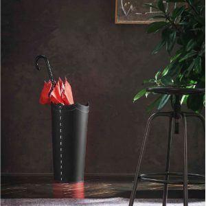 UMBRELLA: porta-ombrelli in cuoio Nero, portaombrelli di design con vaschetta raccogligocce, portaombrello made in Italy by Limac Design®.