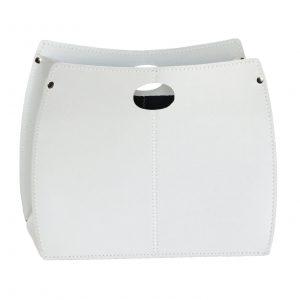 VANDA: portariviste in cuoio colore Bianco, porta giornali, quotidiani, cesto, per Casa, Ufficio, Idea regalo, Made in Italy, Limac Design®.