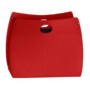 VANDA: portariviste in cuoio colore Rosso, porta giornali, quotidiani, cesto, per Casa, Ufficio, Idea regalo, Made in Italy, Limac Design®.
