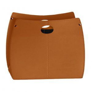 VANDA: portariviste in cuoio colore Marrone, porta giornali, quotidiani, cesto, per Casa, Ufficio, Idea regalo, Made in Italy, Limac Design®.