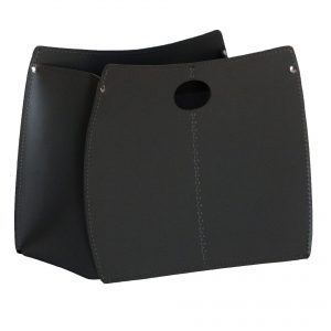 VANDA: portariviste in cuoio colore Nero, porta giornali, quotidiani, cesto, per Casa, Ufficio, Idea regalo, Made in Italy, Limac Design®.